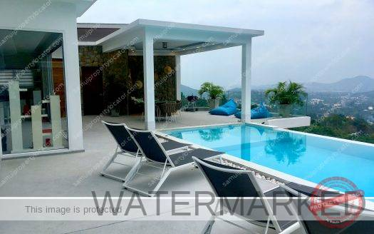 Pool deck at great value sea view villa Koh Samui Thailand